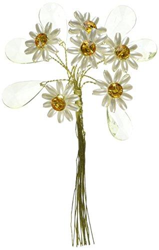 Club Verde Flor con Diamantes de Cristal Hojas, Marfil, 2,5cm, Paque