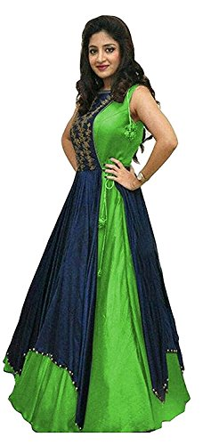 Aracruz Women's Clothing Ethnic Gowns For Party Wear Designer Green Blue Banglori...
