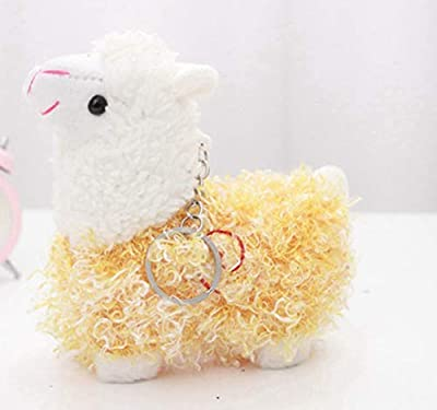 WYBL Bonita Oveja Alpaca Juguetes De Felpa Kawaii Bolsa Mochila Colgante Llavero Relleno Animales Niños Juguetes para Niños Cumpleaños Regalo 12Cm Amarillo de WYBL