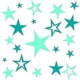 Wandschnörkel® 80 Aufkleber Sterne selbstklebend konturgeschnitten als Fensterbild, Wandtattoo Möbelaufkleber...