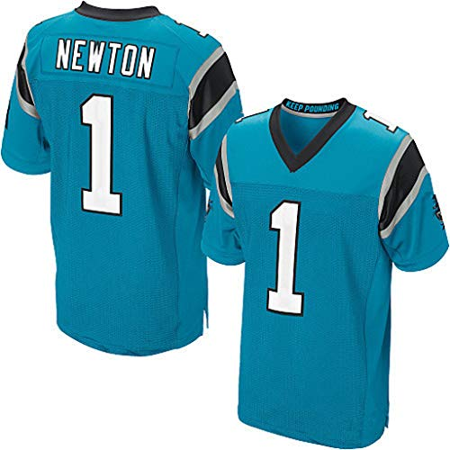 Rugby Fan T-Shirts Carolina Panthers Nr. 1 Newton Elite Edition Stickerei Fußballbekleidung für Herren Sport Casual Kurzarm NFL Jersey,Blau,M (Carolina Panthers Trikots Männer)