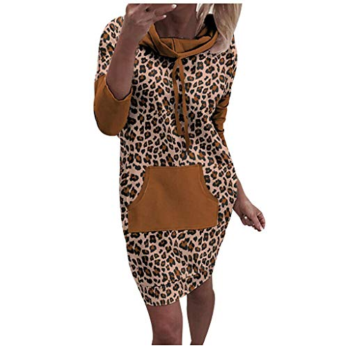 Damen Kleider Pullover Kleid Bodycon Leopard Kapuzenkleid Hoodie Sweatshirt Kapuzenkleid Weihnachten Sweatkleid Langarm Beiläufige Sportkleid mit Kapuze und Tasche (L, Kaffee)