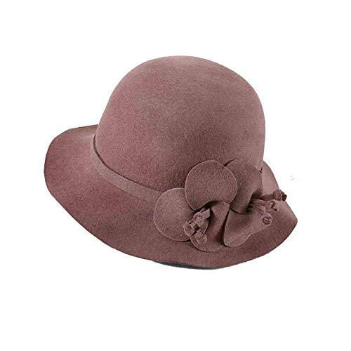 Sunny Frauen Cloche Bucket Hats ,1920s Winter Bowler Kirche Hut Herbst Und Winter Filzhut Bucket Hat Mit Blumen Akzent (Farbe : Bean Paste Color) Cloche Bucket