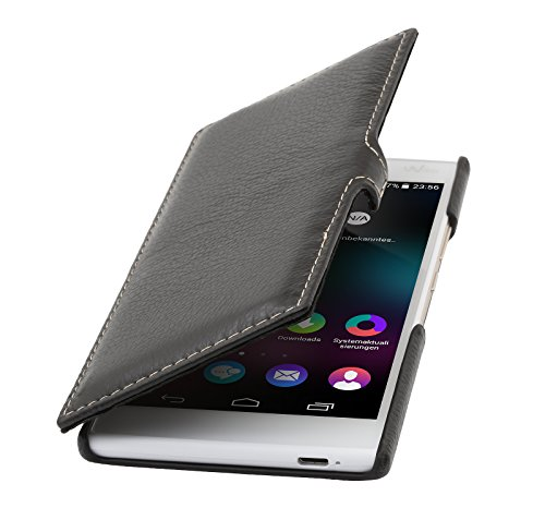StilGut Book Type Case mit Clip, Hülle aus Leder für Wiko Ridge 4G, schwarz