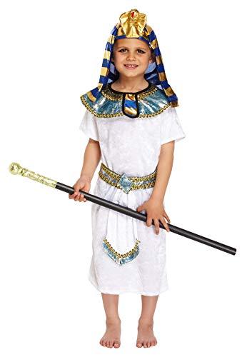 (Fancy Me Jungen 4 Stück Ägyptischer Pharao Historisch Büchertag Kostüm Kleid Outfit 4-12 Jahre - Weiß, 10-12 years)