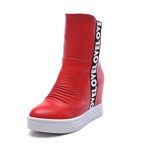 AllhqFashion Damen Gemischte Farbe Hoher Absatz Rund Zehe Pu Reißverschluss Stiefel Rot