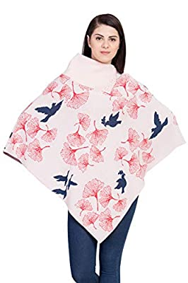 BOXYMOXY Baby Pink Bird Jacquard Poncho Sweater Pullover with Stylish Neck for Girls & Women