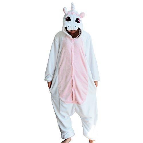 Einhorn Kostüm Erwachsene Tier Jumpsuits Onesie Pyjama Nachthemd Nachtwäsche Cosplay Overall Hausanzug Fastnachtskostuem Karnevalskostüme Faschingskostüm Kapuzenkostüm (L: Für Ihre Höhe :171 - 180cm, (3 Beste Kostüme Familie)