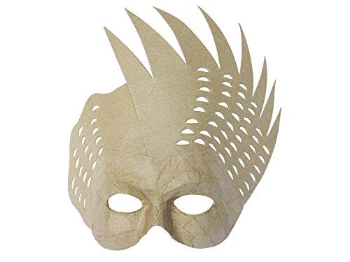(Décopatch AC311O Maske Karneval Vogel aus Pappmaché, 8 x 25 x 25 cm, zum Verzieren, Kartonbraun)