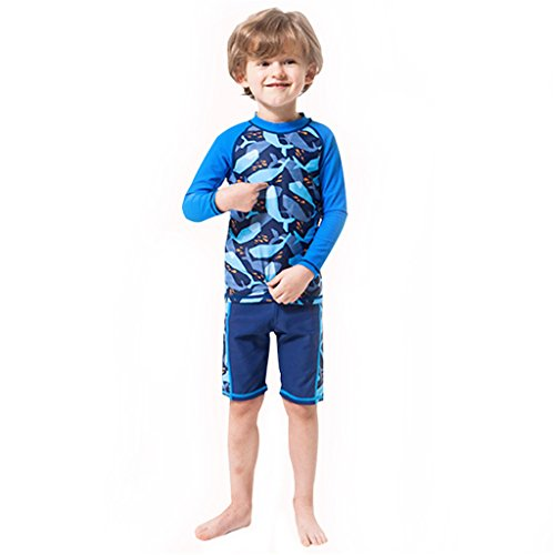 e5c1a570ed2e6 Boys Long Sleeved Swimsuit - Kids 2 Pieces Swimwear Swimming T-Shirt and  Trunks M - Buy Online in Oman.