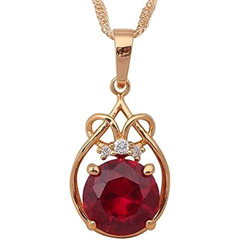 Bling fashion 18K Placcato Oro Giallo Ciondolo cristallo Granato AAA zirconi delicato Charms 21,5cm