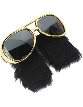 Homyl Anteojos Negros Gafas de Sol Elvis Presley Geniales Divertidos Bigotes Laterales Diseño Hermoso