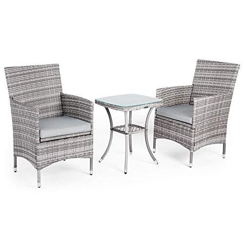 VonHaus Bistro Set aus Polyrattan | 2-Sitzer Sessel plus mit Glasplatte bedecktem Tisch für Garten und Terrasse | Farbe Grau