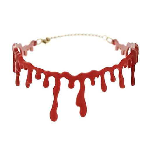 Choker Vampir Kostüm Zubehör - WSCOLL Halloween Kostüme Party FavorsBlood Drip Halskette Vampire Bloody Choker Halskette Scary Dekorationen Zubehör A1