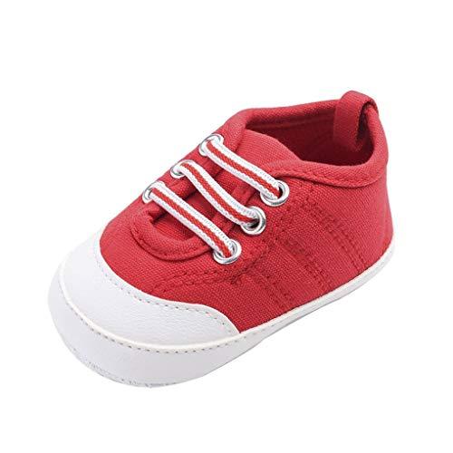 Baby Canvas-Turnschuhe/Dorical Unisex Babyschuhe Krabbelschuhe Lauflernschuhe Erste Wanderer Schuhe Segeltuchschuhe Weiche Sohle Säuglingskleinkind für Baby Mädchen Baby Jungen(Rot,11 ()