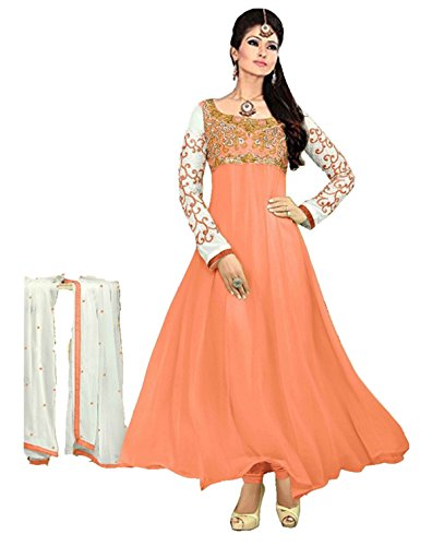 Clickedia Women's Heavy Georgette Semi-stitched Peach Embroidered Floor Length Anarkali Suit - Dress Material  available at amazon for Rs.399
