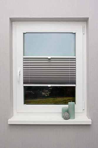 Plissee auf Maß verschiedene Farben für alle Fenster Montage in der Glasleiste Faltrollo Blickdicht mit Spannschuh Sonnenschutzrollo Fensterrollo Plissee Rollo Hellgrau Breite: 41 - 50 cm, Höhe: 40 - 100 cm