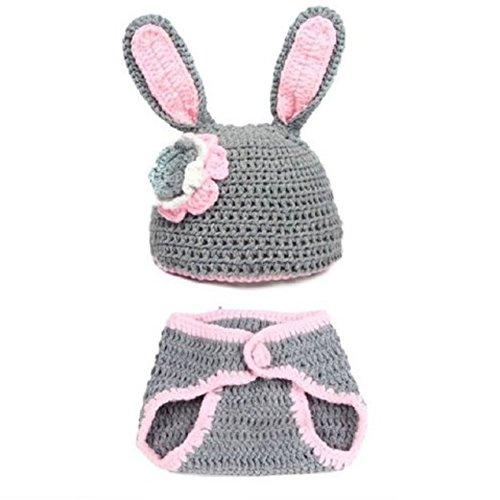 Imagen de bebe disfraz fotografia prop  sodial r bebe nina y nino recien nacido 0 9 meses lindo conejo hecho a mano punto de ganchillo beanie sombreros animales ropa traje fotografia proposicion equipo, gris+rosa