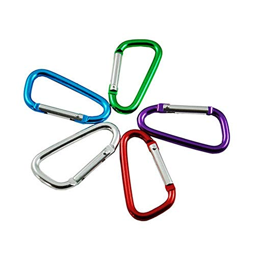 ANDIAOG-Home 5 Stücke Aluminium Karabiner Camping Wandern Outdoor Snap Locking Clip Schlüsselbund Haken (D Form, zufällige Farbe) -