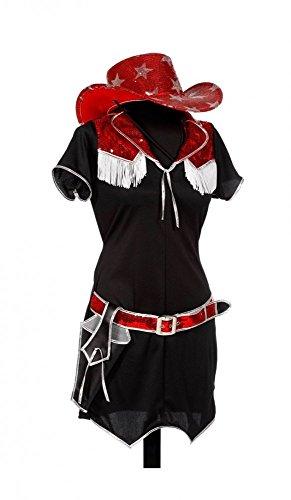 Cowgirl Rote Kostüm - shoperama Damen Kostüm Rodeo Cowgirl Schwarz/Rot Kleid mit Gürtel und Pistolenhalfter Western, Größe:36