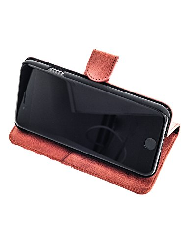 QIOTTI >             Apple iPhone 5 / 5S / SE             < incl. PANZERGLAS H9 HD+ Geschenbox Booklet Wallet Case Hülle Premium Tasche aus echtem Kalbsleder / Denim mit Kartenfächer und Standfunktion in GRAU. Edel verpackt  ROT