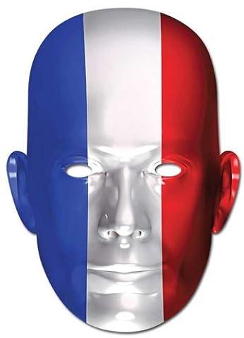 Frankreich Flagge - Prominentenmaske, Papp Maske, aus hochwertigem Glanzkarton mit Augenlöchern, Gummiband - Grösse ca. 30x21 (Frankreich Kostüm Für Jungen)
