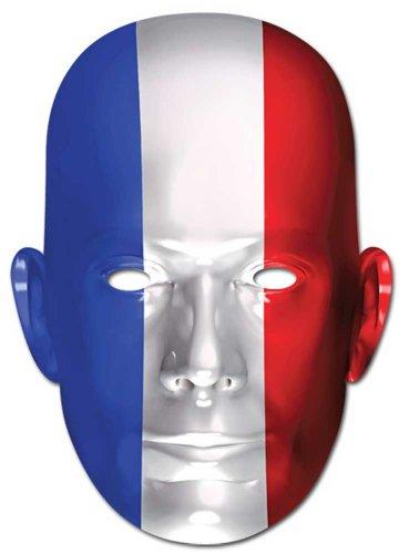 Frankreich Flagge - Prominentenmaske, Papp Maske, aus hochwertigem Glanzkarton mit Augenlöchern, Gummiband - Grösse ca. 30x21 cm (Frankreich Kostüm Für Jungen)
