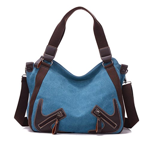 Transer Canvas Handbags & Single Shoulder Bags Women Zipper Bag Girls Hand Bag, Borsa a spalla donna Coffee 32cm(L)*28(H)*15cm(W) Blue