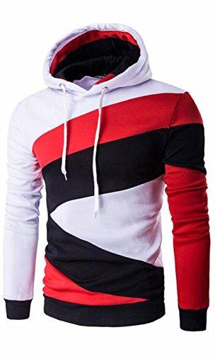 UMilk Uomo Pullover a blocchi di colore Felpa Outwear Bianco