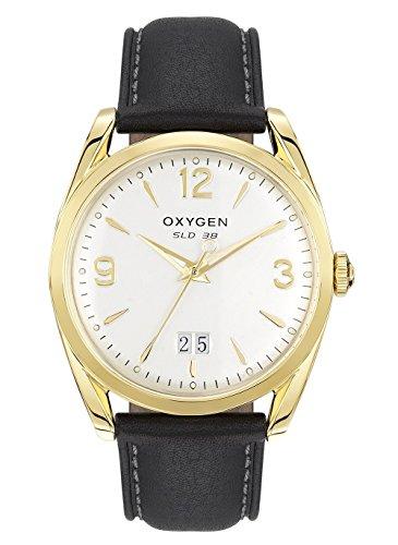 Oxygen–Montre Homme Acier–Cadran Argent sablé–Bracelet en Cuir Noir–Sport 38Truman–l-s-tru-38