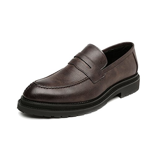 Sunny&baby scarpe slip-on da uomo smooth frosted pu leather upper mocassini gentlemen business outsole oxfords resistente all'abrasione (color : brown, dimensione : 43 eu)