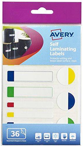 Avery 60–124Selbstlaminierende Etiketten, verschiedene Farben/Formen, 3x A6-Blatt (3verschiedene Größen, 63x 16mm, 63x 8mm, 25mm)