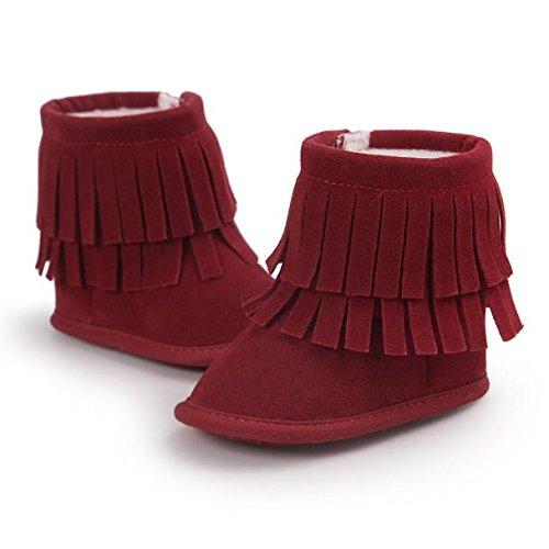 Hunpta Neue Baby jungen Mädchen Baby Schneestiefel halten Warm Doppelstock-Quasten weiche Sohle weiche Krippe Schuhe Kleinkind Stiefel (11, Dark Gray) Rot