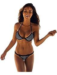 Bañadores Deportivas Mujer,Xinan Push-Up Bikini Set Vendaje Traje de Baño Negro (M)