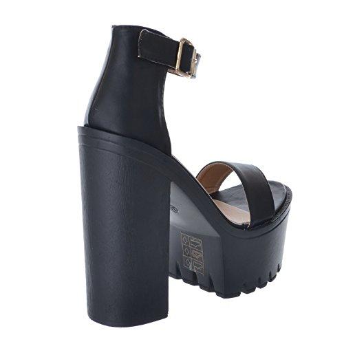 Femmes - Escarpins bride cheville talon bloc haut massif Simili-cuir Noir