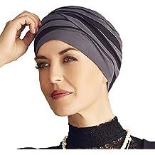 Turbante Shanti con bambú negro y azul para mujeres con alopecia 409d1495eec