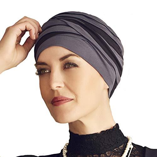 Christine Headwear Bambus Turban für Chemotherapie - Shanti Schwarz und Blau