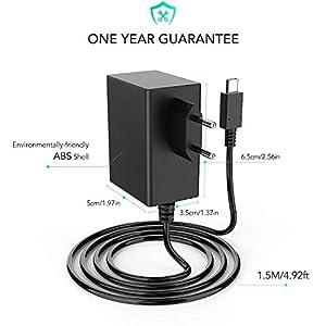 AGPTEK Nintendo Switch Ladegerät, 1,5M AC Netzteil für Nintendo Switch Konsole, Dock und Controller mit Typ-C Anschluss, Dual Voltage 5V-1.5A/ 15V-2.6A, unterstützt TV-Modus