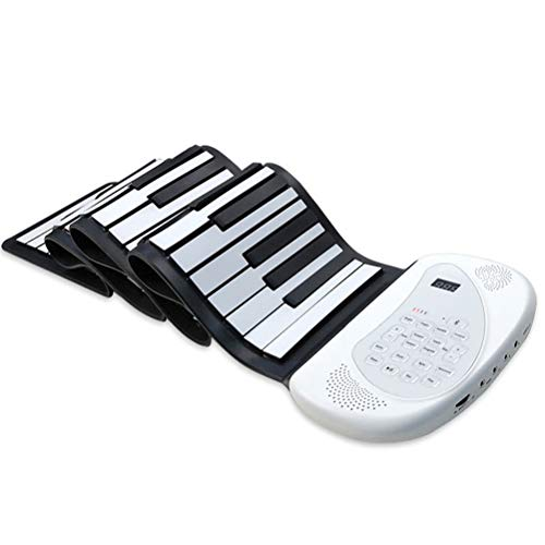 ZHJIUXING DQ Keyboard Klavier Faltbare 88Tasten, Flexibles Handrollenklaviertastaturhorn, Klima Silikonmaterial Elektronisch Roll Up Klavier Spielzeug, Ideale Anfänger Kinder, White