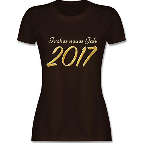 Weihnachten & Silvester - Happy New Year 2017 Gold Silvester - tailliertes Premium T-Shirt mit Rundhalsausschnitt für Damen Braun