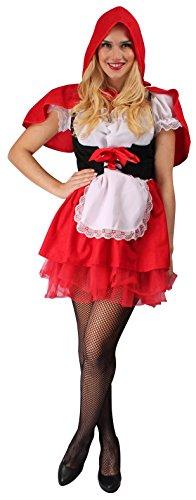 Rotkäppchen Kostüm rot-schwarz-weiß für Damen | Größe 36/38 | 2-teiliges Märchen Kostüm Kleid | Red Riding Hood Faschingskostüm für (Riding Hood Kleid Red)