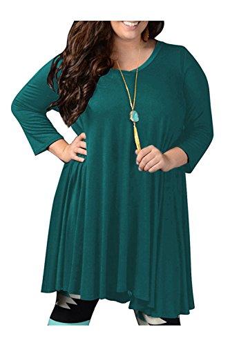 YACUN Les Femmes Et La Taille 3 / 4 De Mini - Swing Robe Pull Décolleté Manches green