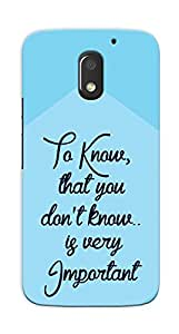 Kaira High Quality Printed Designer Back Case Cover For Motorola Moto E3 Power(Know)