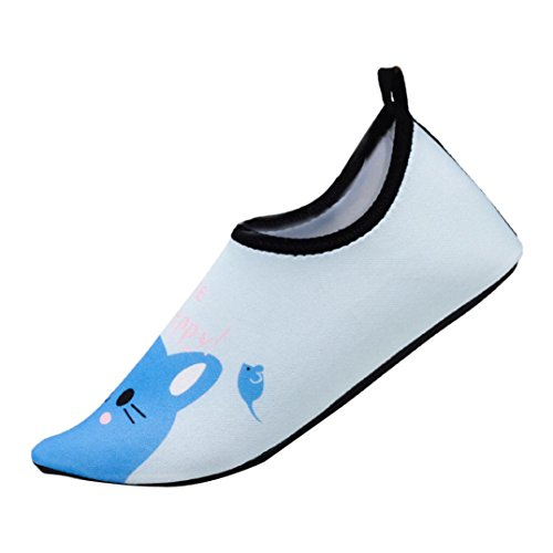 Challeng Kinder Badeschuhe Kleinkind Schuhe Schwimmen Schnell Trocknend Wasser Schuhe Barefoot Aqua Schuhe für Beach Pool Surfen Unisex (EU:24-25, Blau)