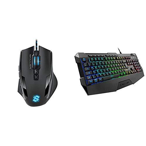 Sharkoon Skiller SGM1 Gaming Maus mit Makrotasten (10800 DPI, 12 Tasten, Weight-Tuning-System und Software) schwarz & Skiller SGK4 Gaming Keyboard RGB, N-Key-Rollover (Deutsches Tastaturlayout)