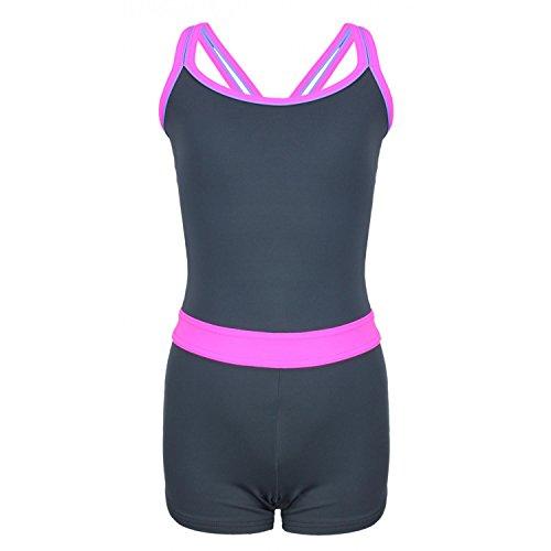 Aquarti Mädchen Badeanzug mit Bein Racerback , Farbe: Grau / Pink, Größe: 128