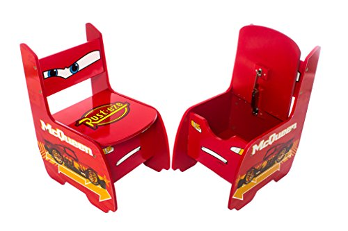 Image of Disney Cars Lightning McQueen Childrens Wooden Table And Two Chairs Set - Kids Bedroom / Playroom