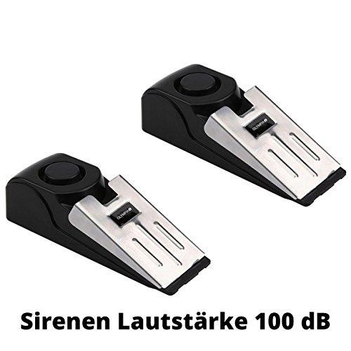 2 Stück OLYMPIA T 300 Alarmkeil für Türen -- 100 dB Alarm -- Rutschfeste Unterseite -- Mechanischer Einbruchschutz | Türkeil, Türstopper mit Alarmfunktion