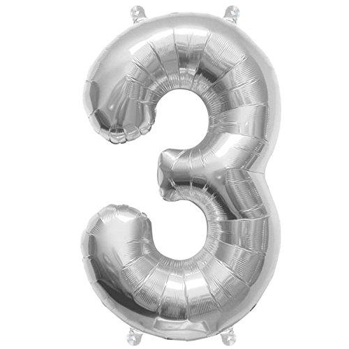 NorthStar Balloons-Ballon Aluminium Chiffre 3 Argent De 41Cm Non Gonflé
