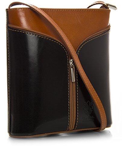 Big Handbag Shop Borsetta piccola a tracolla, vera pelle italiana Black & Medium Tan